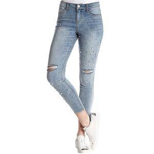Mid Rise Skinny Jeans, Light Blue/Pearls/Distress